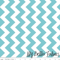 Medium Chevron in Aqua - Riley Blake House Designer - Chevron Cottons