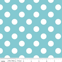 Medium Dots in Aqua - Riley Blake House Designer - Cotton Dots