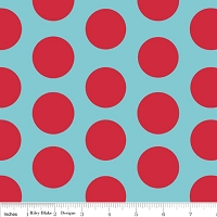 Large Dots in Aqua Red - Riley Blake House Designer - Cotton Dots