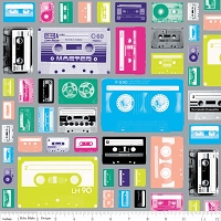 Geekly Cassettes in Gray - Amy Adams, Dorothy Tsang, and Riley Blake House Designer - Geekly Chic