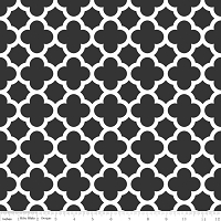 Medium Quatrefoil in Black - Riley Blake House Designer - Quatrefoil Cottons