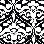 Divine Damask in Black - Michael Miller - Citron Gray