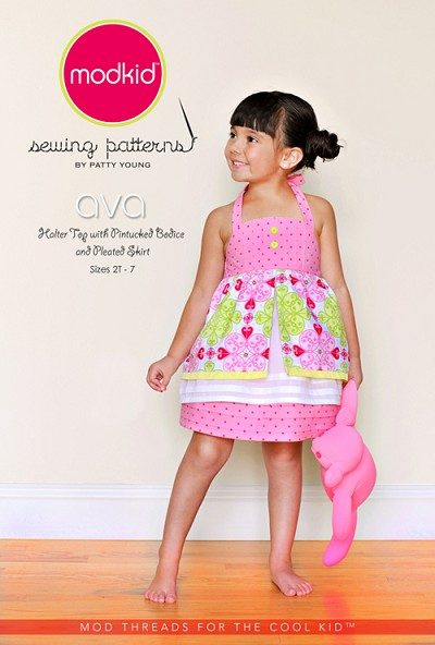 Ava - Halter Top with Pintucked Bodice and Pleated Skirt Sewing Pattern - Modkid by Patty Young