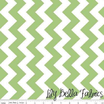 Medium Chevron in Green - Riley Blake House Designer - Chevron Cottons