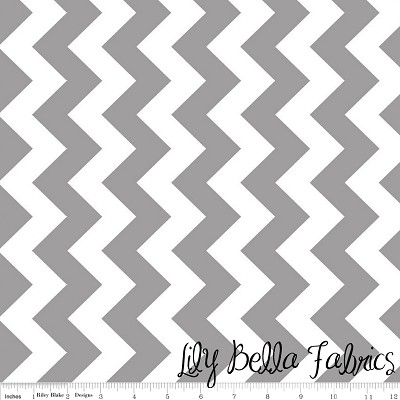 Medium Chevron in Gray - Riley Blake House Designer - Chevron Cottons