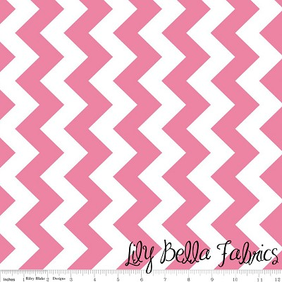 Medium Chevron in Hot Pink - Riley Blake House Designer - Chevron Cottons