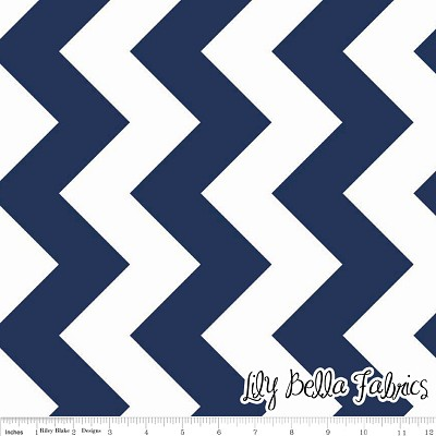 Large Chevron in Navy - Riley Blake House Designer - Chevron Cottons