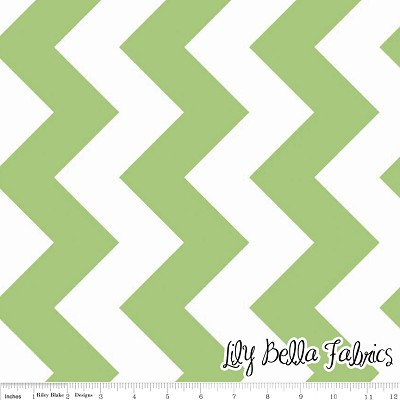 Large Chevron in Green - Riley Blake House Designer - Chevron Cottons