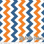 Medium Chevron in Orange/Blue - Riley Blake House Designer - Chevron Cottons