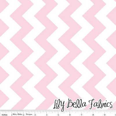 Medium Chevron in Baby Pink - Riley Blake House Designer - Chevron Cottons