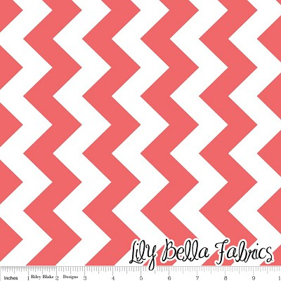 Medium Chevron in Rouge - Riley Blake House Designer - Chevron Cottons