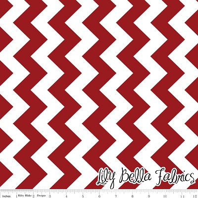 Medium Chevron in Crimson - Riley Blake House Designer - Chevron Cottons