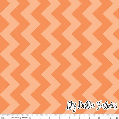 Medium Chevron in Tone on Tone Orange - Riley Blake House Designer - Chevron Cottons