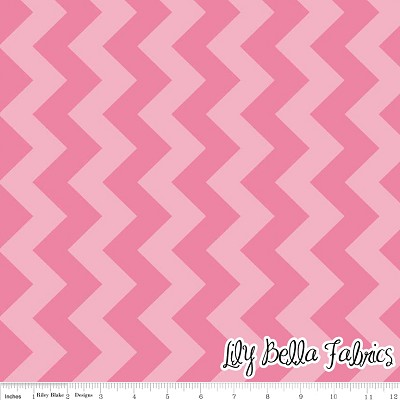 Medium Chevron in Tone on Tone Hot Pink - Riley Blake House Designer - Chevron Cottons