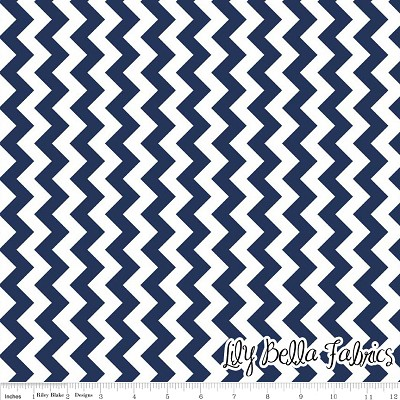 Small Chevron in Navy - Riley Blake House Designer - Chevron Cottons
