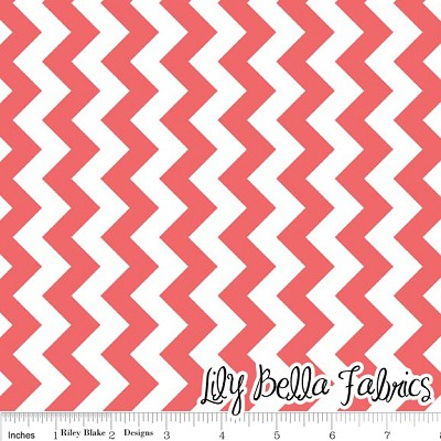 Small Chevron in Rouge - Riley Blake House Designer - Chevron Cottons