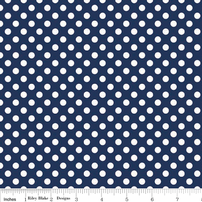 Small Dots in Navy - Riley Blake House Designer - Cotton Dots