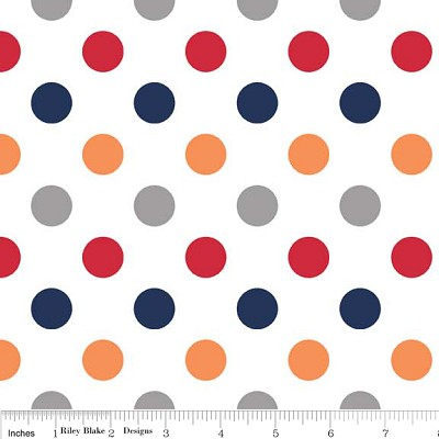Medium Dots in Boy - Riley Blake House Designer - Cotton Dots