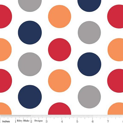Large Dots in Boy - Riley Blake House Designer - Cotton Dots