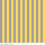 Half Inch Stripe in Gray/Yellow - Riley Blake House Designer - Cotton Stripes