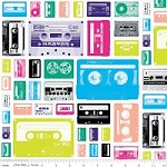 Geekly Cassettes in White - Amy Adams, Dorothy Tsang, and Riley Blake House Designer - Geekly Chic
