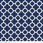 Medium Quatrefoil in Navy - Riley Blake House Designer - Quatrefoil Cottons