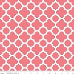 Medium Quatrefoil in Coral - Riley Blake House Designer - Quatrefoil Cottons