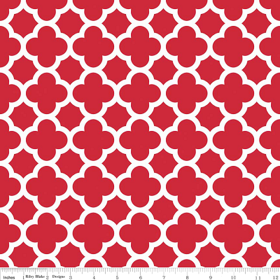 Medium Quatrefoil in Red - Riley Blake House Designer - Quatrefoil Cottons