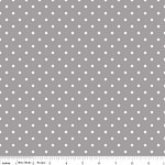 Swiss Dot White on Gray - Riley Blake House Designer - Swiss Dots